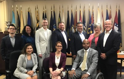 Executive leaders from AMVETS (American Veterans) and CareSource, an Ohio-based national nonprofit health plan met to discuss a collaborative effort to create access to health care for veterans. Pictured Top row L to R – Anthony Bellotti, Christine Kirkle