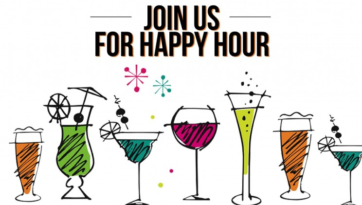 Drawings of different types of colorful drinks with JOIN US FOR HAPPY HOUR in big black lettering above them.