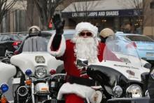 Santa Claus riding a motorcycle