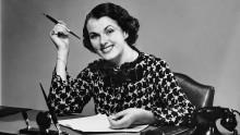 Retro woman at desk