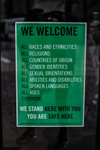 Welcome: We Stand Here with You - You Are Safe Here Sign